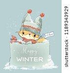 little winter fox   Shutterstock .eps vector #1189343929