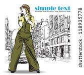 cute fashion girl on a street... | Shutterstock .eps vector #118935778