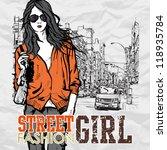 cute fashion girl on a street... | Shutterstock .eps vector #118935784