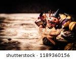 happy halloween. making scary... | Shutterstock . vector #1189360156