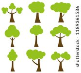 trees  a set of cartoon trees.... | Shutterstock .eps vector #1189361536