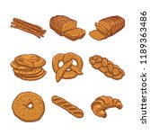 set of breads hand drawn on... | Shutterstock .eps vector #1189363486