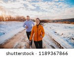 fitness couple winter morning... | Shutterstock . vector #1189367866
