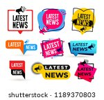 big set of latest news... | Shutterstock .eps vector #1189370803