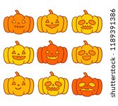 cute cartoon halloween vector. | Shutterstock .eps vector #1189391386