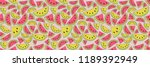 summer pattern with watermelons ... | Shutterstock .eps vector #1189392949
