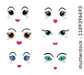 set of cute lovely emoticon | Shutterstock .eps vector #1189396693