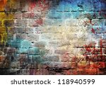 Graffiti Brick Wall  Colorful...