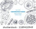 mediterranean cuisine top view... | Shutterstock .eps vector #1189410949