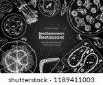 mediterranean cuisine top view... | Shutterstock .eps vector #1189411003