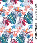 vintage colourful tropical... | Shutterstock .eps vector #1189417426