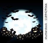 halloween night with pumpkins... | Shutterstock .eps vector #1189429066