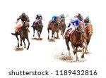 Stock photo jockey horse racing isolated on white background 1189432816