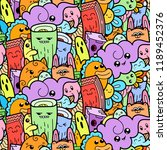 funny doodle monsters seamless... | Shutterstock . vector #1189452376