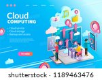 3d isometric cloud computing... | Shutterstock .eps vector #1189463476