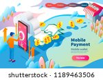 3d isometric mobile payment ... | Shutterstock .eps vector #1189463506