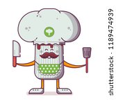 smiling chief cooker champignon ...   Shutterstock .eps vector #1189474939