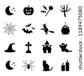 halloween symbols. vector icons ... | Shutterstock .eps vector #1189475080