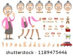 friendly granny in pink blouse... | Shutterstock .eps vector #1189475446