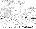castle gate graphic black white ... | Shutterstock .eps vector #1189478443