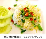 Stock photo prik nam pla topping on fried rice fish sauce with thai chilies 1189479706
