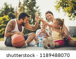 family relaxation after good... | Shutterstock . vector #1189488070