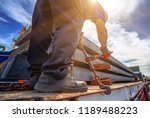 workers driver of the trailer... | Shutterstock . vector #1189488223