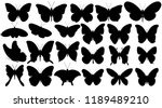 Stock vector set silhouette butterfly 1189489210