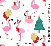 cute pink flamingo in christmas ... | Shutterstock .eps vector #1189494673