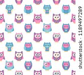 pattern with cute blue and pink ... | Shutterstock .eps vector #1189497289