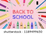 back to school text with school ... | Shutterstock .eps vector #1189499650
