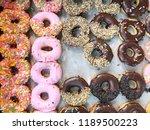 variety donuts in donut shop. ... | Shutterstock . vector #1189500223