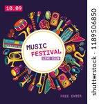 music festival poster. colorful ... | Shutterstock .eps vector #1189506850