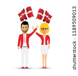 denmark flag waving man and... | Shutterstock .eps vector #1189509013
