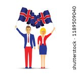 iceland flag waving man and... | Shutterstock .eps vector #1189509040