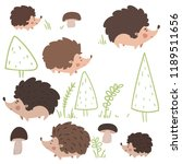 cartoon set cute autumn family... | Shutterstock .eps vector #1189511656