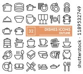 dishes line icon set  kitchen... | Shutterstock .eps vector #1189532749