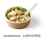 greek salad in paper bowl with... | Shutterstock . vector #1189537903