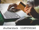 business woman hand holding... | Shutterstock . vector #1189550260