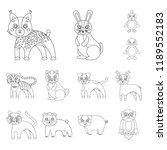 toy animals outline icons in... | Shutterstock . vector #1189552183