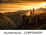 young woman backpacker in... | Shutterstock . vector #1189554439