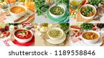 set of six different soups... | Shutterstock . vector #1189558846