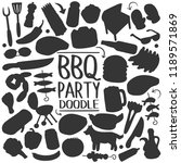 bbq barbecue silhouette clip... | Shutterstock .eps vector #1189571869