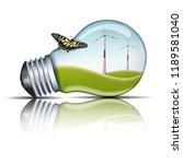 wind turbines in a light bulb... | Shutterstock . vector #1189581040