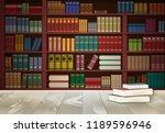 bookshelf in library and book... | Shutterstock .eps vector #1189596946