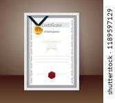 blank participation certificate ...   Shutterstock .eps vector #1189597129