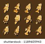 set of yellow metal rockets or... | Shutterstock .eps vector #1189605943