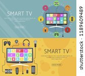 smart tv flat design concept... | Shutterstock .eps vector #1189609489