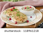 Chicken cutlets with cowberry and mushroom sauce selective focus - stock photo