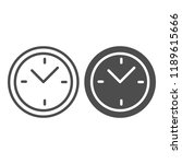 clock line and glyph icon. time ... | Shutterstock .eps vector #1189615666
